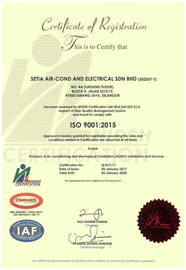Certification of ISO 9001:2015