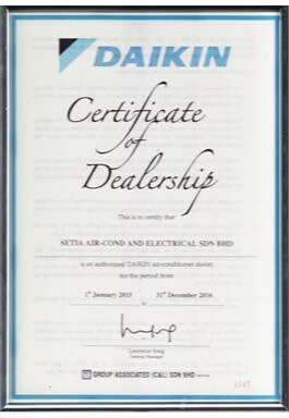 CERTIFICATE OF DEALERSHIP DAIKIN BY GROUP ASSOCIATED (C&L) SDN BHD